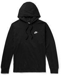 Nike Sportswear Club Logo-embroidered Cotton-jersey Hoodie - Black