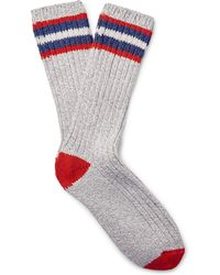 J.Crew | - Ribbed Mélange Cotton-blend Camp Socks - Grey | Lyst