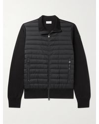 Moncler Slim-fit Panelled Cotton-blend And Quilted Shell Down Zip-up Cardigan - Black