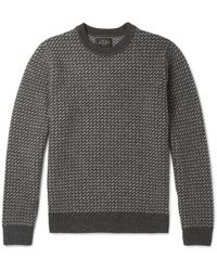 Beams Plus - Two-tone Intarsia Wool-blend Sweatshirt - Lyst