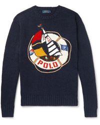 Polo Ralph Lauren - Embroidered Cotton And Linen-blend Jumper - Lyst