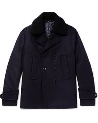 Officine Generale - Faux Shearling-trimmed Double-breasted Melton Wool-blend Peacoat - Lyst