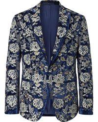 Etro Slim-fit Embellished Velvet Tuxedo Jacket - Blue