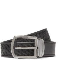 Ermenegildo Zegna - 3.5cm Black Reversible Pelle Tessuta Leather Belt - Lyst