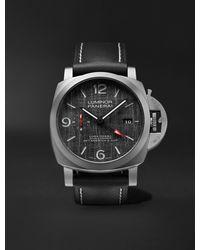 Panerai Luminor Luna Rossa Gmt Automatic 44mm Titanium And Leather Watch - Black