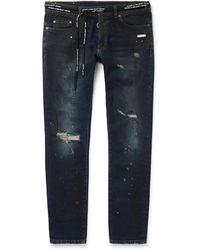 Off-White c/o Virgil Abloh - Skinny-fit Distressed Stretch-denim Jeans - Lyst