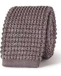 Lanvin 5cm Knitted Silk Tie - Gray