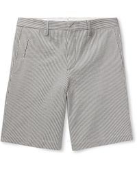 Ermenegildo Zegna - Striped Stretch-cotton Seersucker Shorts - Lyst