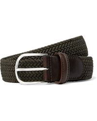 Andersons - 3.5cm Green Leather-trimmed Woven Elastic Belt - Lyst