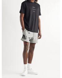 Haydenshapes Arsham Stampd Eroded Wide-leg Embellished Cotton-jersey Shorts - Grey