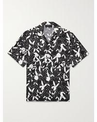 Amiri Playboy Camp-collar Printed Silk-twill Shirt - Black