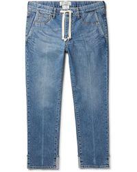Remi Relief Slim-fit Tapered Denim Drawstring Jeans - Blue
