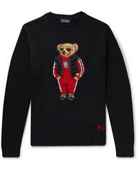 Polo Ralph Lauren Bear-intarsia Wool Sweater - Black