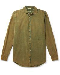 Massimo Alba Canary Acid-washed Cotton-corduroy Shirt - Green