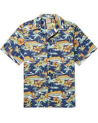 Go Barefoot Old Hawaii Camp-collar Printed Cotton Shirt - Blue