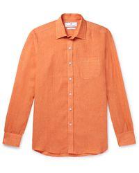 Turnbull & Asser Cutaway-collar Linen Shirt - Orange