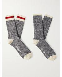 Beams Plus Two-pack Striped Mélange Cotton-blend Socks - Blue