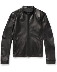CONNOLLY Slim-fit Café Racer Leather Jacket - Black