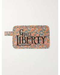 Gucci Liberty Printed Leather Wash Bag - White