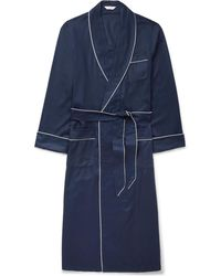 Derek Rose - Lombard Piped Cotton-jacquard Robe - Lyst
