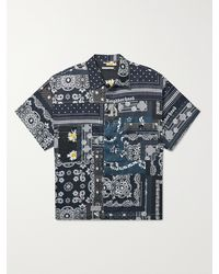 Neighborhood Bandana-print Patchwork Cotton-voile Shirt - Black