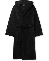 Versace - Logo-jacquard Cotton-terry Hooded Robe - Lyst