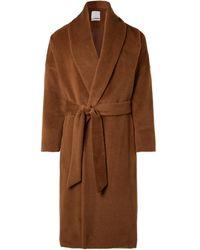 Deveaux Belted Alpaca And Wool-blend Coat - Brown