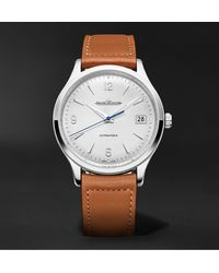 Jaeger-lecoultre Master Control Date Automatic 40mm Stainless Steel And Leather Watch - White