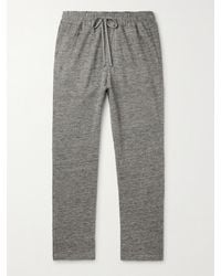 Barena Tapered Mélange Cotton And Linen-blend Sweatpants - Gray