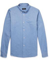 A.P.C. Slim-fit Button-down Collar Cotton Oxford Shirt - Blue