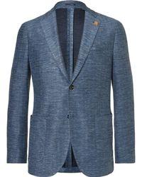 Lardini | Blue Slim-fit Unstructured Mélange Slub Cotton And Linen-blend Jersey Blazer | Lyst