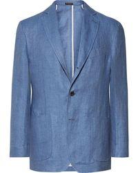 Rubinacci Blue Slim-fit Unstructured Herringbone Linen Blazer