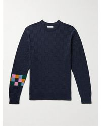 Pop Trading Company Logo-embroidered Checked Cotton Sweater - Blue