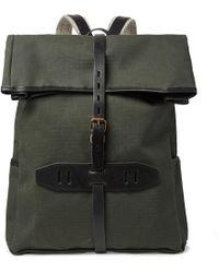 Bleu De Chauffe Jamy Leather-trimmed Regentex Ripstop Backpack - Green