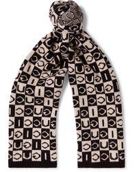 Gucci Checkerboard Wool Scarf - Black