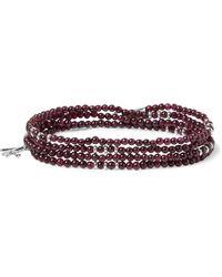 Isaia Silver And Garnet Beaded Wrap Bracelet