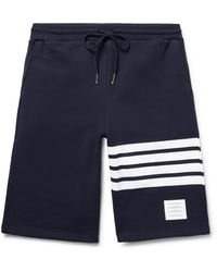 Thom Browne Striped Loopback Cotton-jersey Shorts - Blue