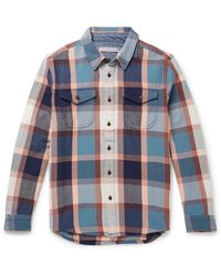 Outerknown Blanket Appliquéd Checked Organic Cotton-twill Overshirt - Blue