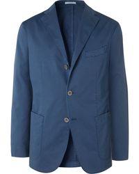 Boglioli Gray K-jacket Slim-fit Unstructured Cotton-blend Twill Suit Jacket - Blue