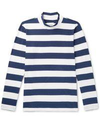 Albam - Striped Cotton-jersey Mock-neck T-shirt - Lyst