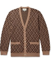 Gucci Logo-jacquard Wool Cardigan - Brown
