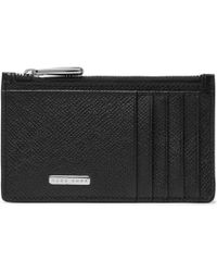 BOSS - Signature Cross-grain Leather Zipped Cardholder - Lyst