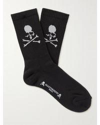 MASTERMIND WORLD Ribbed Logo-jacquard Cotton-blend Socks - Black