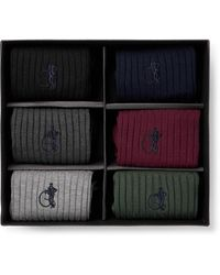 London Sock Company - Traditional Six-pack Ribbed Stretch Cotton-blend Socks - Lyst