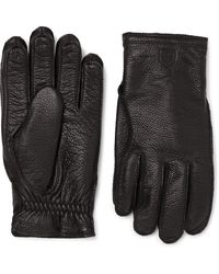 Hestra Frode Wool-lined Full-grain Leather Gloves - Black
