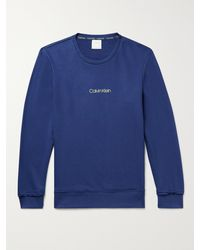 Calvin Klein Logo-print Loopback Cotton-blend Jersey Sweatshirt - Blue
