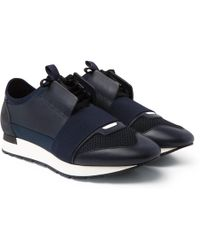 Balenciaga - Race Runner Leather, Neoprene, Suede And Mesh Trainers - Lyst