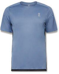 On Performance Colour-block Stretch-mesh T-shirt - Blue
