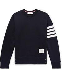 Thom Browne Slim-fit Striped Loopback Cotton-jersey Sweatshirt - Blue