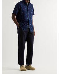 Blue Blue Japan Button-down Collar Indigo-dyed Polka-dot Cotton Shirt - Blue